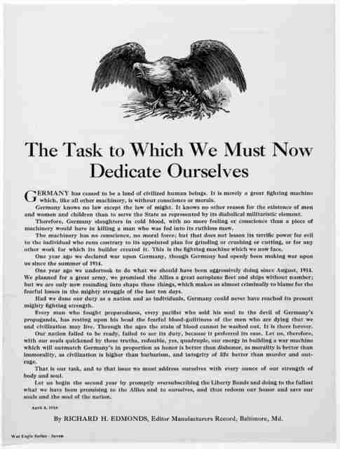 The task to which we must now dedicate ourselves ... By Richard H. Edmonds, Editor Manufacturers Record, Baltimore, Md. April 4, 1918.