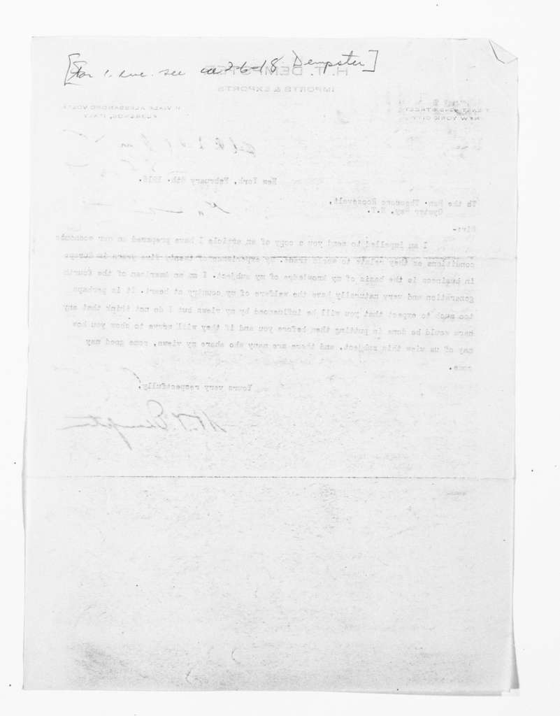 Theodore Roosevelt Papers: Series 1: Letters and Related Material, 1759-1919; 1918, Feb. 4-10