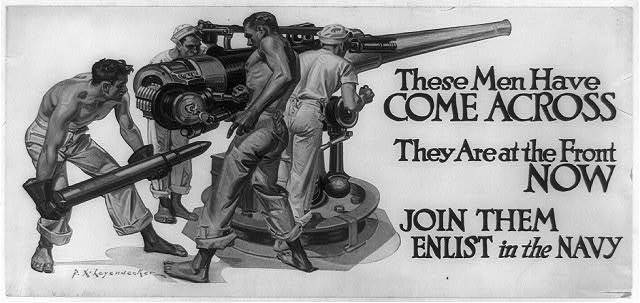 These men have come across, they are at the front now. Join them--enlist in the Navy / F.X. Leyendecker.