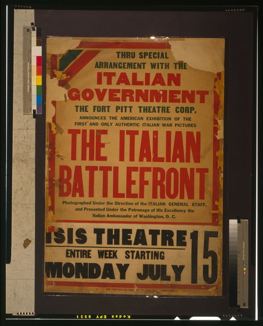 Thru special arrangement with the Italian government [...] the Italian battlefront