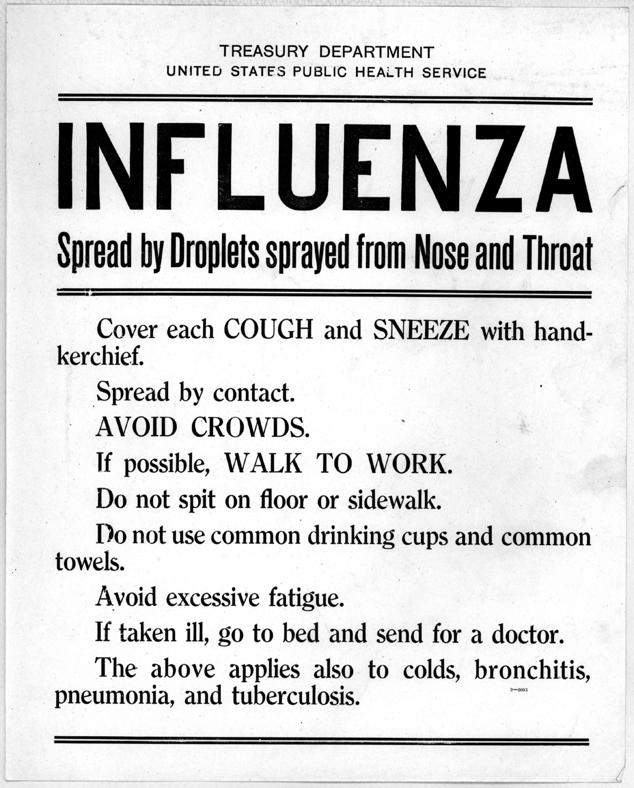 Treasury department. United States Public health service. Influenza spread by droplets sprayed from nose and throat. Cover each cough and sneeze with handkerchief. Spread by contact. Avoid crowds. If possible, walk to work. Do not spit on floor