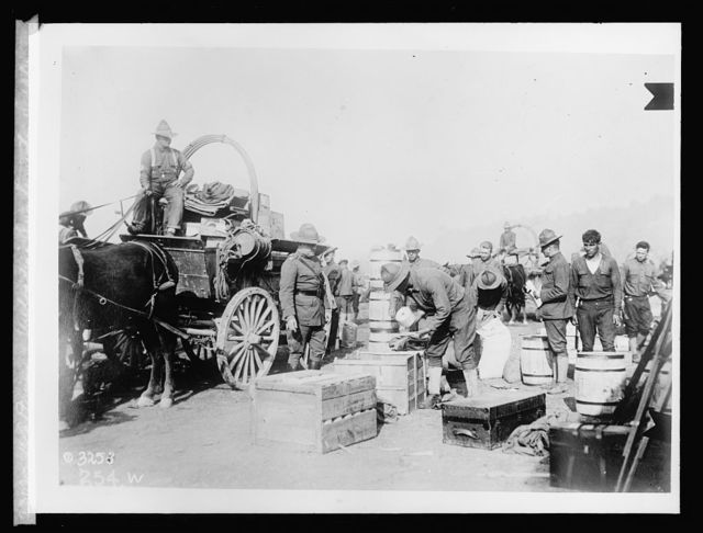 U.S. Army unloading Quartermaster supplies