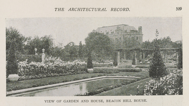 View of garden and house, Beacon Hill House, Newport residence of Arthur Curtis James, Esq. Olmsted Brothers, Landscape Architects