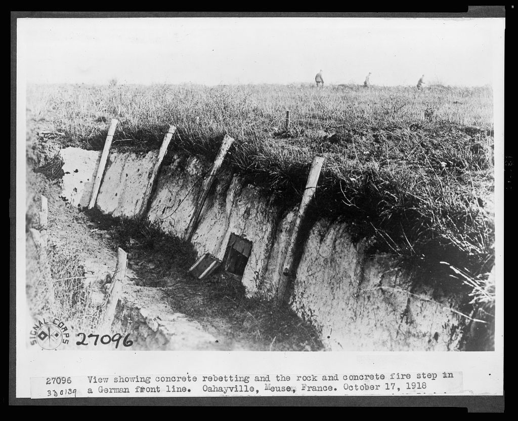 View showing concrete reetting and the rock and concrete fire step in a German front Line. Oahayville, Meuse, France / Signal Corps.
