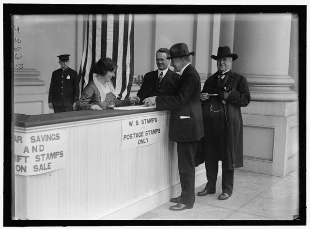 WAR SAVINGS STAMPS. GILLETT, FREDERICK HUNTINGTON, REP. FROM MASSACHUSETTS, 1893-1925; SPEAKER, 66TH, 67TH, 68TH CONGRESSES; SENATOR, 1925-1931; OVERMAN, LEE SLATER, SENATOR FROM NORTH CAROLINA, 1903-1933