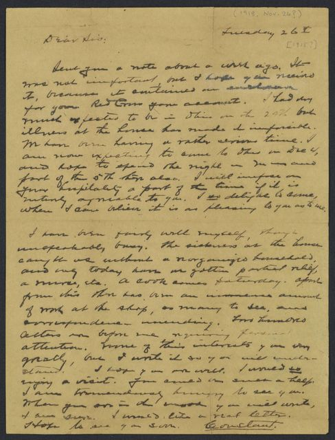 Warren G. Harding-Carrie Fulton Phillips Correspondence: Correspondence and drafts of correspondence; 1918; Nov.-Dec.