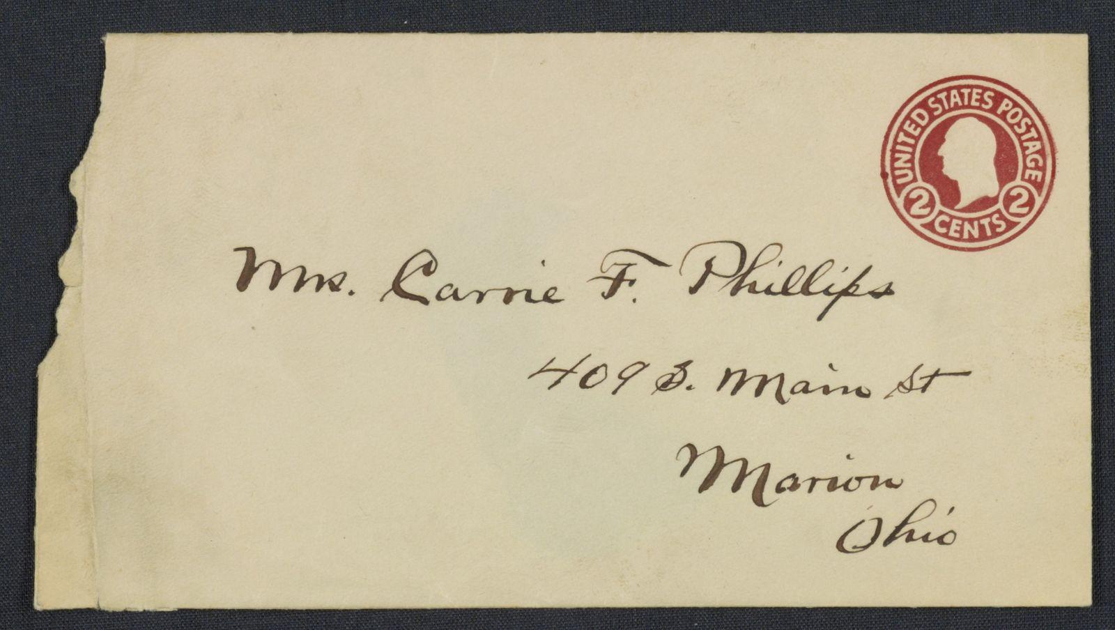 Warren G. Harding-Carrie Fulton Phillips Correspondence: Correspondence and drafts of correspondence; 1918; Jan.-July