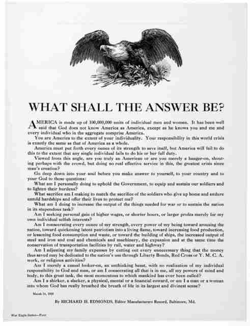 What shall the answer be? ... By Richard H. Edmonds, Editor. Manufacturers Record, Baltimore Md. March 14, 1918.
