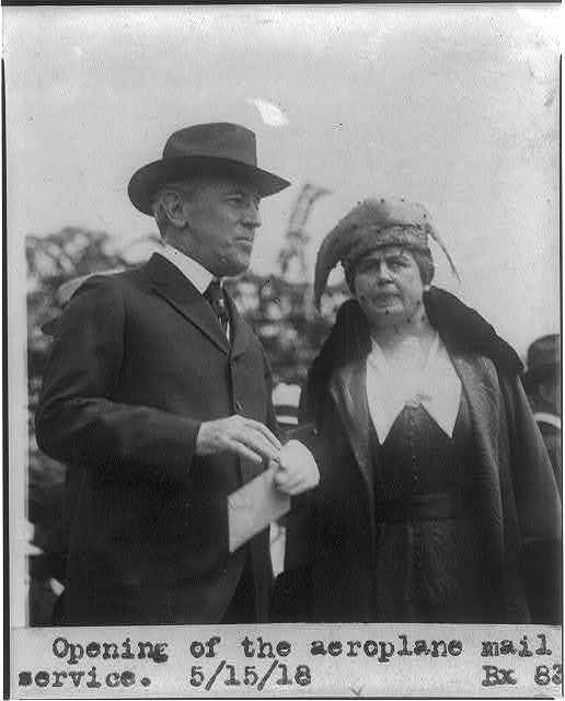 Wilson & wife at the opening of the aeroplane mail service