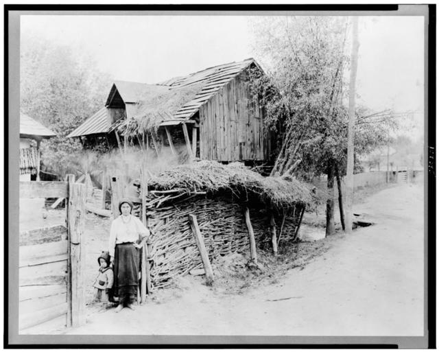 [Woman and child standing by fence of farmyard, Romania]