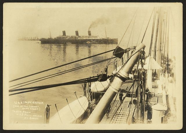 [803rd Pioneer Infantry Battalion on the U.S.S. Philippine (troop ship) from Brest harbor, France, July 18, 1919]. no. 4, U.S.S. Imperator (one of the largest ships afloat) taken from the U.S.S. Philippine at Brest