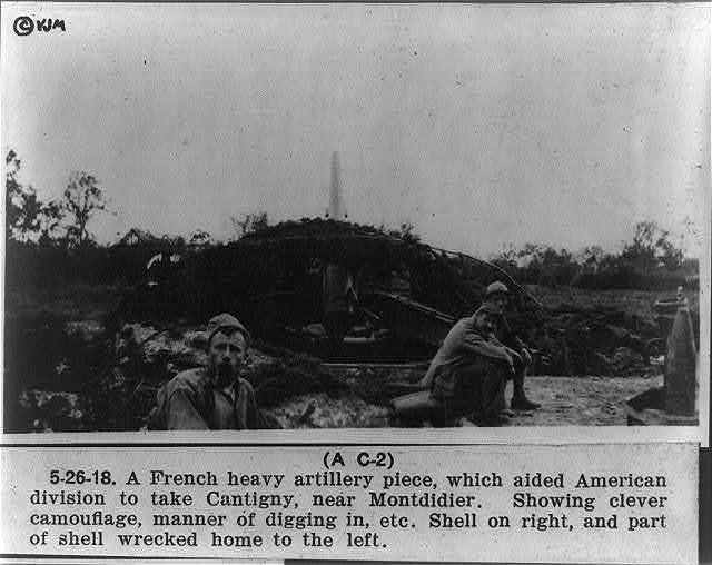 A French heavy artillery piece, which aided American division to take Cantigny, near Montdidier
