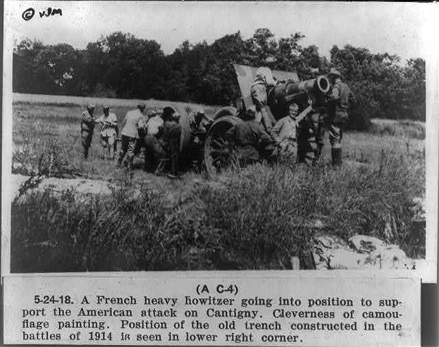 A French heavy howitzer going into position to support the American attack on Cantigny