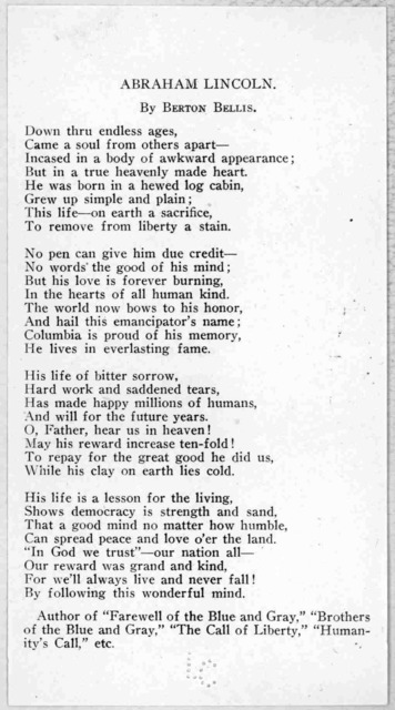 Abraham Lincoln By Berton Bellis. [A poem of 4 stanzas] [1919].