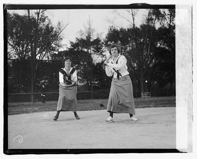 At bat, Mrs. Richie; catcher, Fannie Gearhart
