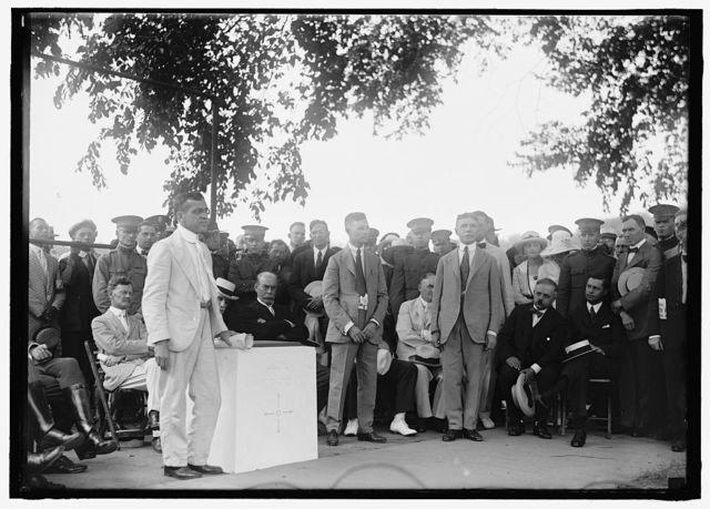 BAKER, NEWTON DIEHL. SECRETARY OF WAR, 1916-1921. RECEIVING ZERO MILESTONE