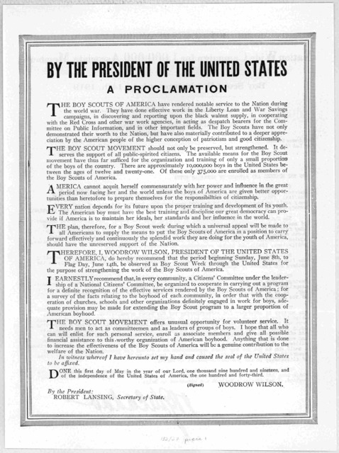 Boy Scouts of America. National wide campaign for 1,000,000 associate members. Boy Scout week, June 8th to 14th, 1919. [Circular letter to the mothers and fathers of American boys signed W. G. McAdoo].