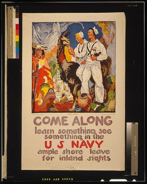 Come along - learn something, see something in the U.S. Navy Ample shore leave for inland sights / / painted by James H. Daugherty ; Press Navy Recruiting Bureau N.Y.