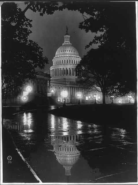 D.C., Washington - Capitol - Exterior - Night View of S.E. front on rainy night