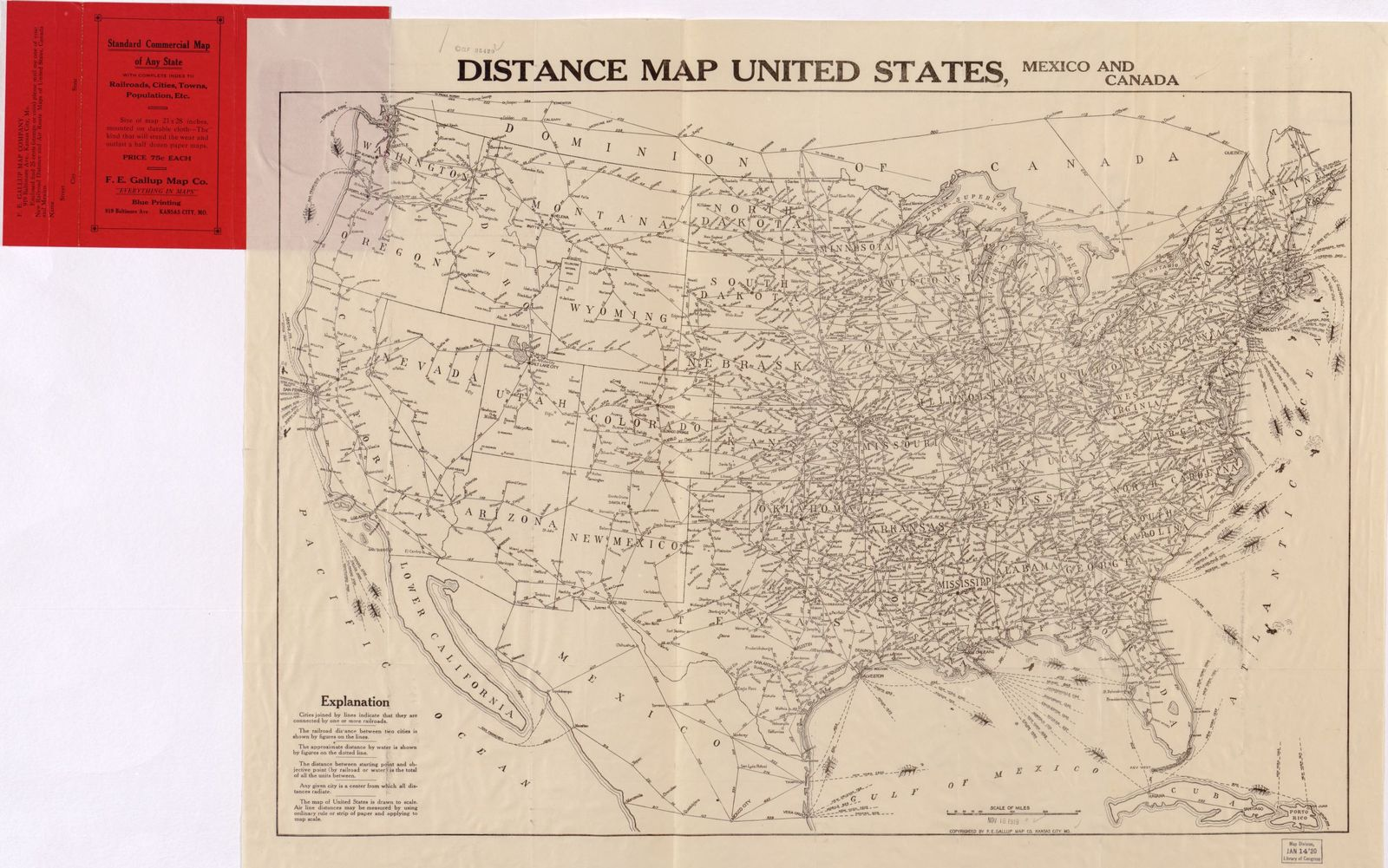 Distance Map United States Mexico And Canada Picryl