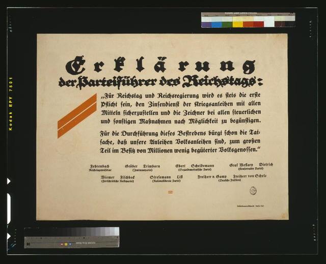 Erklärung der Parteiführer des Reichstags / Bernhard.