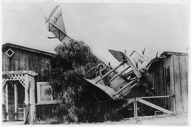 [French bi-plane crashed into house, World War I]