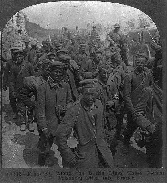 From all along the battle lines these German prisoners filed into France
