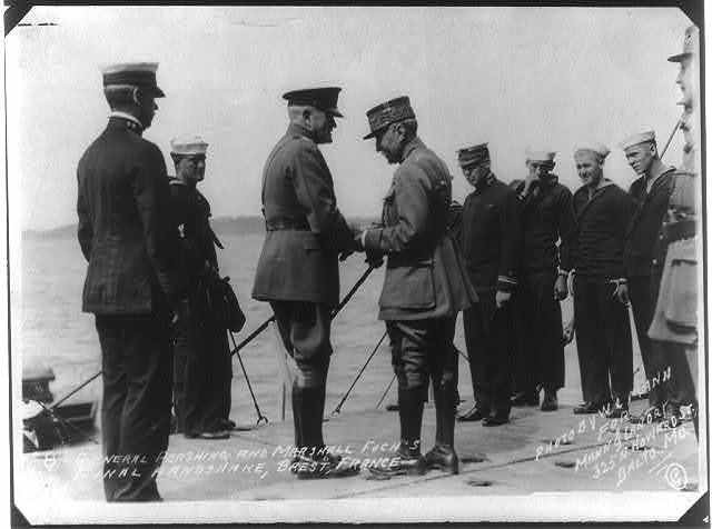 General Pershing and Marshall Foch's final handshake, Brest, France