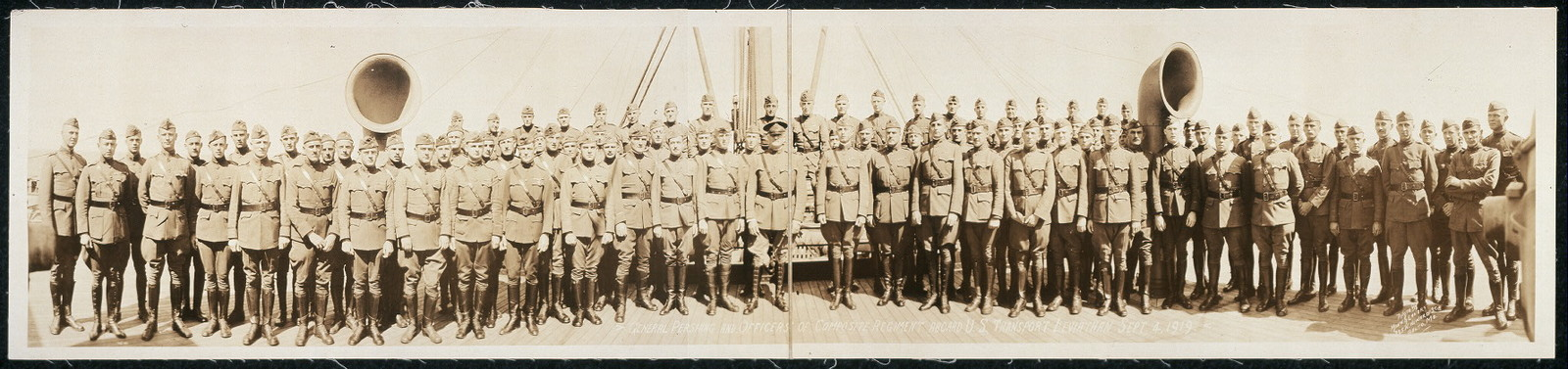 General Pershing and officers of composite regiment aboard U.S. transport Leviathan, Sept. 4, 1919