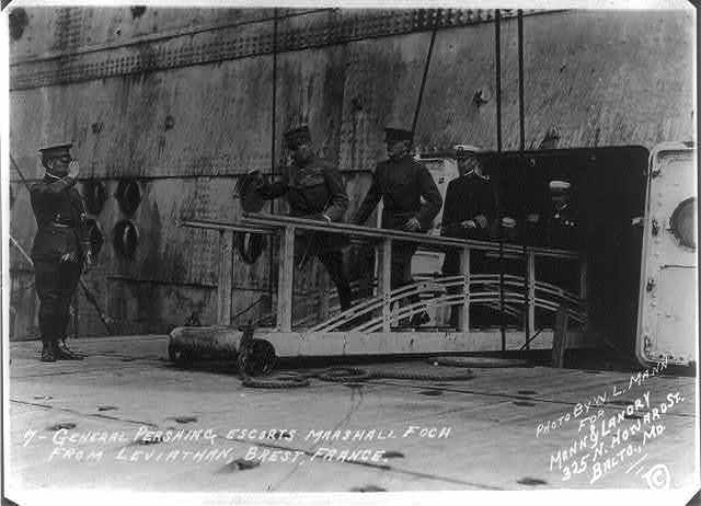 General Pershing escorts Marshall Foch from LEVIATHAN, Brest, France