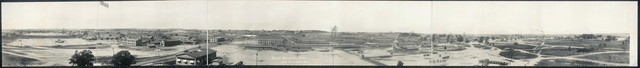 """General view of Camp Custer From top of """"Liberty Theatre"""" showing Drill Fields, Ball Grounds etc."""