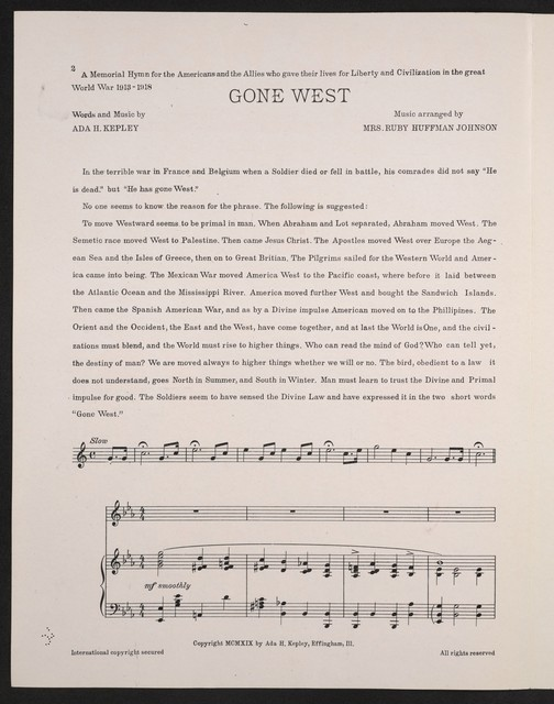 Gone west a memorial hymn for those who died for civilization and freedom in the World War, 1914-1919