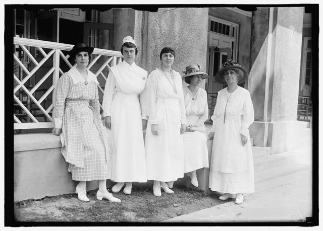 GOVERNMENT HOTELS. BUILT BY U.S. HOUSING CORP. FOR WAR WORKERS. PERSONNEL GROUP. MISSES MARY E. RUST; DORIS BURCHARD; MARY LINDSLEY; HARLEAN JAMES; OLIVE DAVIS