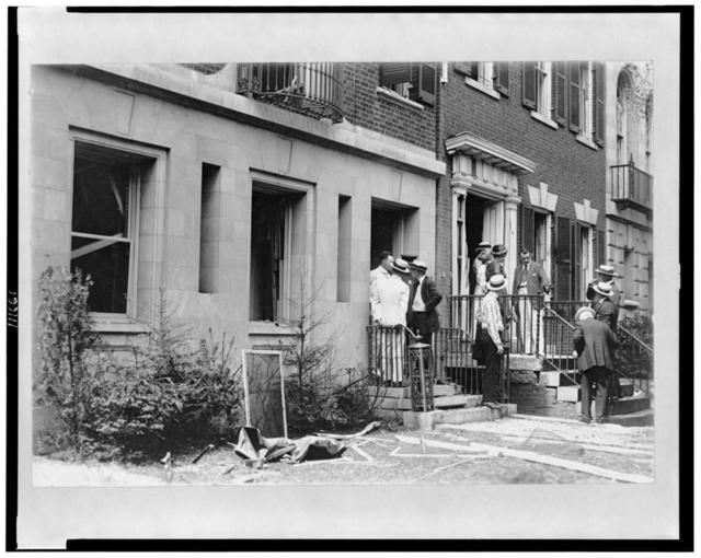 [Group of people in front of home of Alexander Mitchell Palmer, after bomb explosion]