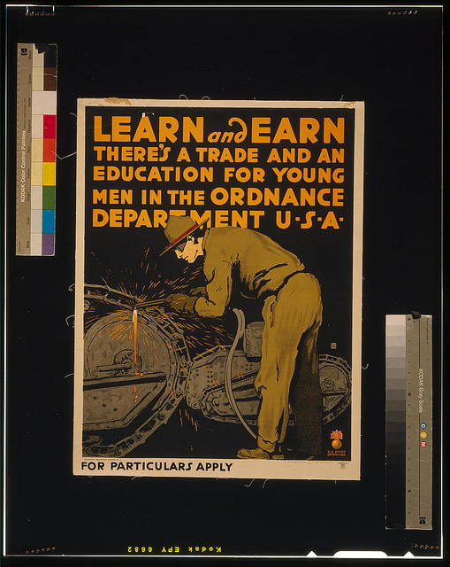 Learn and earn There's a trade and an education for young men in the Ordnance Department U-S-A / / Falls ; Engineer Reproduction Plant, U.S. Army, Washington Barracks, D.C.