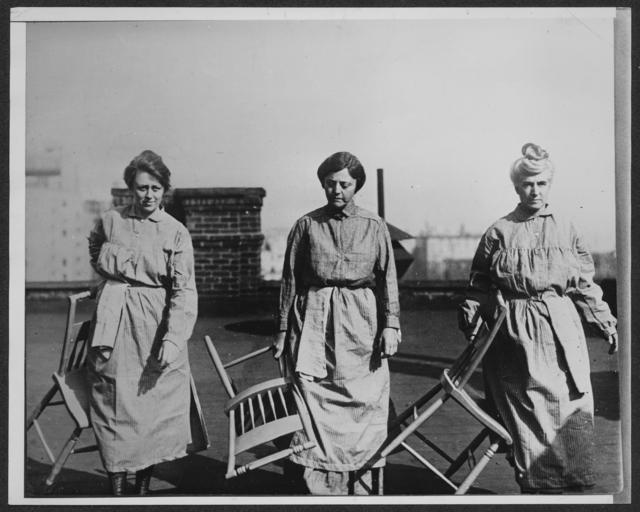 Left to Right: Doris Stevens, Mrs. J.A.H. Hopkins [Alison Turnbull Hopkins], N.J., Mrs. John Winters Brannan [Eunice Dana Brannan], N.Y.