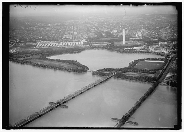 LONG BRIDGE. AIRPLANE VIEW OF, WITH TIDAL BASIN, MONUMENT, ETC.