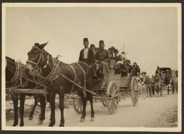 [Man and boy wearing fezzes, driving horse-drawn cart filled with children]