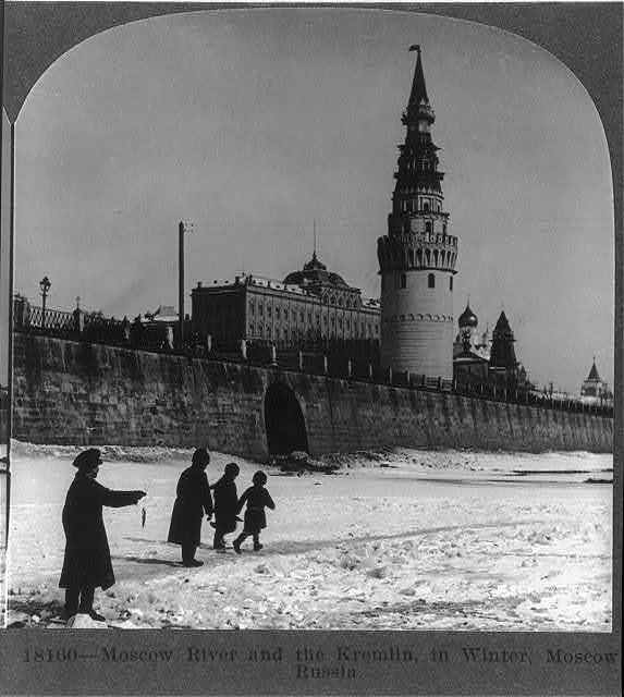 Moscow River and the Kremlin in winter, Moscow, Russia