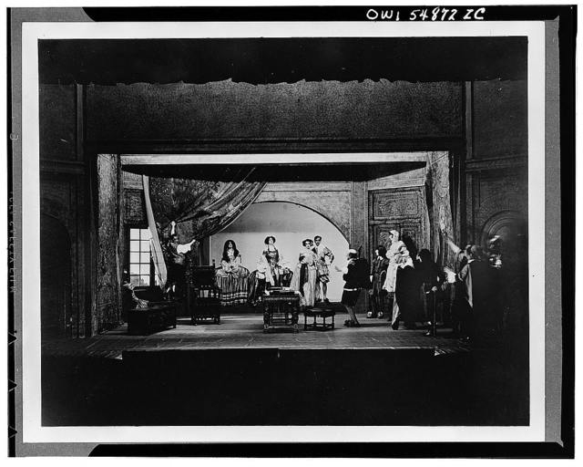"Scene from ""Bonds of Interest"" Spanish costume drama. Theatre Guild's first production April 14, 1919 with Rollo Peters (first director of Guild), Helen Westley (Board of Managers) and Edna St. Vincent Millay, poet"