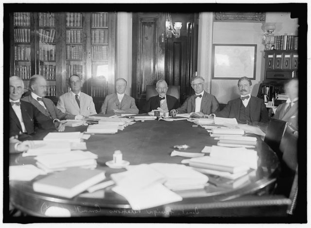 SENATE, COMMITTEES. FOREIGN RELATIONS. WARREN G. HARDING; BLURRED; FRANK B. BRANDEGEE; BLURRED; HENRY CABOT LODGE, CHAIRMAN; GILBERT M. HITCHCOCK; CLAUDEA. SWANSON; OTHERS BLURRED