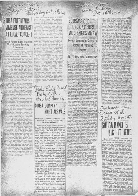 Sousa Band Press Books: Press Clippings 1919