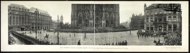 The Cathedral Square, Cologne, August, 1919. Review of British troops by General Gouroud (Commanding Fourth French Army).