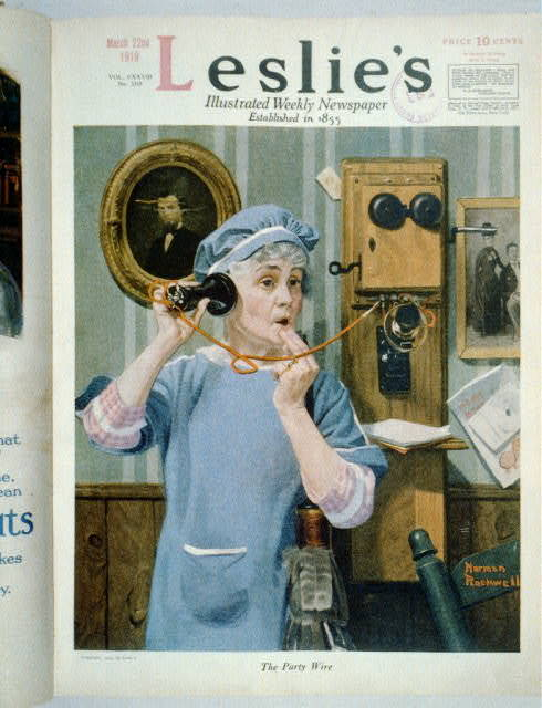 """The Party Wire"" [woman in apron with feather duster with wall telephone receiver held to ear]"