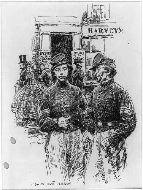 [Two soldiers in front of Harvey's]