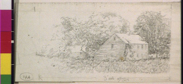 [Two story frame house in country]