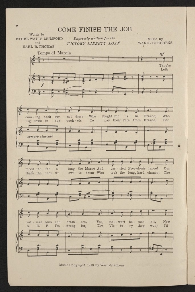 Victory songs - Library Of Congress Public Domain Image