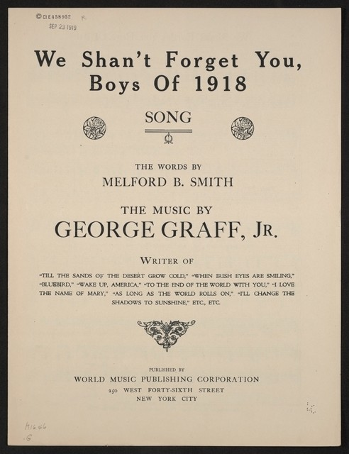 We shan't forget you, boys of 1918 song