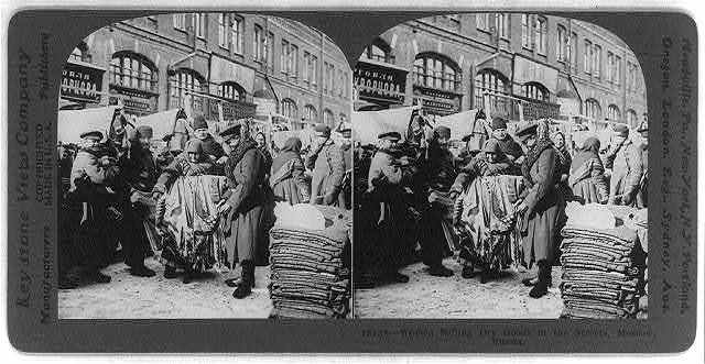 Women selling dry goods in the streets, Moscow, Russia
