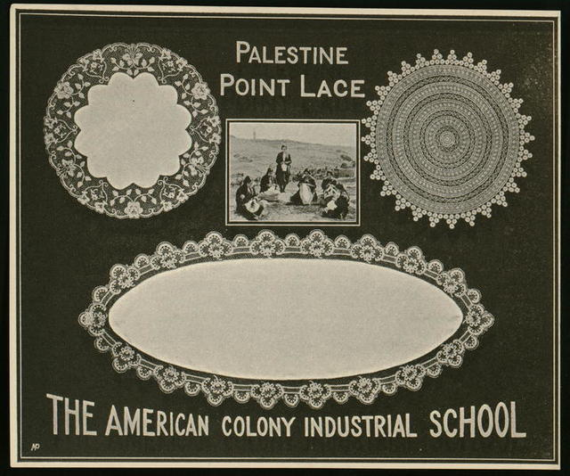 Advertisement card, Palestine Point Lace, The American Colony Industrial School
